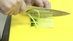 Ο μάγειρας κόβει γρήγορα τις φρέσκες λουρίδες αγγουριών φιλμ μικρού μήκους