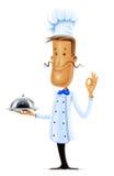 Ο μάγειρας με το δίσκο εμφανίζει ο.κ. Στοκ εικόνα με δικαίωμα ελεύθερης χρήσης