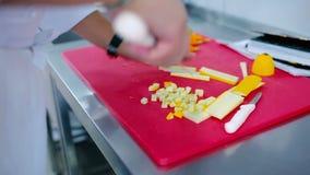 Ο μάγειρας που κόβει τα κολοκύθια στα μικρά κομμάτια απόθεμα βίντεο