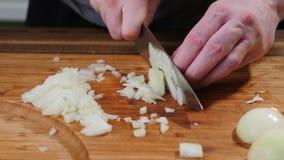 Ο μάγειρας τεμαχίζει τα κρεμμύδια σε έναν τέμνοντα πίνακα Φέτα, φυσική στοκ φωτογραφία με δικαίωμα ελεύθερης χρήσης