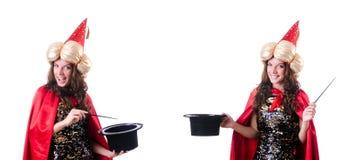 Ο μάγος που απομονώνεται θηλυκός στο λευκό στοκ φωτογραφία με δικαίωμα ελεύθερης χρήσης