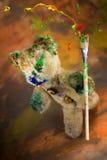 Ο μάγος teddy αντέχει το παιχνίδι κάνει μαγικός με το ζωηρόχρωμο χρώμα Στοκ εικόνα με δικαίωμα ελεύθερης χρήσης