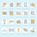 Ο μαγαζί λιανικής πώλησης παρέχει τα επίπεδα εικονίδια γραμμών Σημάδια εξοπλισμού εμπορικών καταστημάτων Εμπορικά αντικείμενα - κ Στοκ εικόνες με δικαίωμα ελεύθερης χρήσης