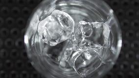 Ο μακρο πυροβολισμός του πάγου κυβίζει να περιέλθει σε ένα γυαλί κοκτέιλ και να κυλήσει γύρω Κατασκευή του κοκτέιλ απόθεμα βίντεο