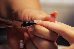 Ο μανικιουρίστας στα εκπαιδευτικά μαθήματα παρουσιάζει σπουδαστές πώς να χειριστεί τα καρφιά με τη βοήθεια nippers των επιδερμίδω Στοκ Εικόνες