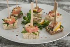 Ο μαριναρισμένος σολομός ψήνει ή καναπεδάκια στο άσπρο πιάτο με τα βουτύρου φύλλα κρέμας και Arugula Στοκ φωτογραφία με δικαίωμα ελεύθερης χρήσης