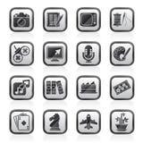 Ο Μαύρος άσπρα χόμπι και εικονίδια ελεύθερου χρόνου Στοκ φωτογραφία με δικαίωμα ελεύθερης χρήσης