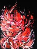 ο Μαύρος ανασκόπησης εμφάσεων που καλλιεργεί τέλειο κόκκινο διάφορο λουλουδιών Στοκ Εικόνα
