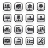 Ο Μαύρος εικονίδια άσπρων κεντρικών υπολογιστών, φιλοξενίας και Διαδικτύου Στοκ εικόνες με δικαίωμα ελεύθερης χρήσης