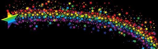 Ο Μαύρος εμβλημάτων μυγών ουράνιων τόξων αστεριών απεικόνιση αποθεμάτων