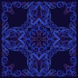 Ο Μαύρος και μπλε Bandana Διανυσματικό τετράγωνο τυπωμένων υλών Στοκ Εικόνα