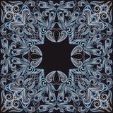 Ο Μαύρος και μπλε Bandana Διανυσματικό τετράγωνο τυπωμένων υλών Στοκ φωτογραφία με δικαίωμα ελεύθερης χρήσης