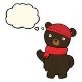 ο Μαύρος κινούμενων σχεδίων αντέχει στο χειμερινά καπέλο και το μαντίλι με τη σκεπτόμενη φυσαλίδα Στοκ Εικόνες