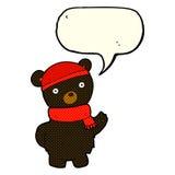 ο Μαύρος κινούμενων σχεδίων αντέχει στο χειμερινά καπέλο και το μαντίλι με τη λεκτική φυσαλίδα Στοκ Εικόνα