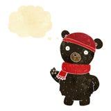 ο Μαύρος κινούμενων σχεδίων αντέχει στο χειμερινά καπέλο και το μαντίλι με τη σκεπτόμενη φυσαλίδα Στοκ Φωτογραφία