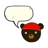 ο Μαύρος κινούμενων σχεδίων αντέχει cub φορώντας το καπέλο με τη λεκτική φυσαλίδα Στοκ Φωτογραφία