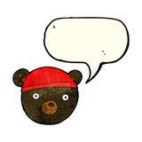 ο Μαύρος κινούμενων σχεδίων αντέχει cub φορώντας το καπέλο με τη λεκτική φυσαλίδα Στοκ Εικόνα