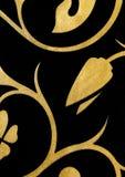 Ο Μαύρος με το χρυσό υπόβαθρο ταπετσαριών σχεδίων φαντασίας λουλουδιών Στοκ φωτογραφία με δικαίωμα ελεύθερης χρήσης