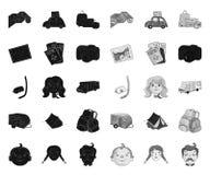 Ο Μαύρος οικογενειακών διακοπών μονο εικονίδια στην καθορισμένη συλλογή για το σχέδιο Αναψυχή και εξοπλισμός διανυσματικός Ιστός  διανυσματική απεικόνιση