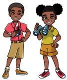 Ο Μαύρος παιδιών περιπέτειας διανυσματική απεικόνιση