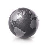 Ο μαύρος σιδήρου Βορράς απεικόνισης σφαιρών τρισδιάστατος και χάρτης της Νότιας Αμερικής Στοκ Εικόνες