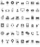 Ο Μαύρος συλλογής εικονιδίων τεχνολογίας υπολογιστών στο λευκό Στοκ Εικόνες