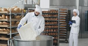 Ο μεγάλος αρχιμάγειρας βιομηχανίας αρτοποιείων ειδικό σε έναν ομοιόμορφο προετοιμάζοντας τη ζύμη προσθέτει κάποιο αλεύρι από το μ απόθεμα βίντεο