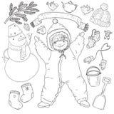 Ο μεγάλος χειμώνας χρωματισμού έθεσε με το μωρό, χιονάνθρωπος, μαντίλι, γάντι, κάλτσες, καπέλο, άτομο πιπεροριζών, πουλιά, φλυτζά Στοκ εικόνες με δικαίωμα ελεύθερης χρήσης