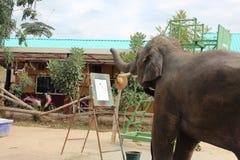 Ο μεγάλος ελέφαντας εκπλήσσει τους ανθρώπους με το playfulness και την καλλιτεχνία του Στοκ εικόνες με δικαίωμα ελεύθερης χρήσης
