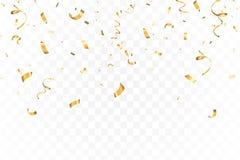 Ο μειωμένος φωτεινός χρυσός ακτινοβολεί εορτασμός κομφετί, ελικοειδής που απομονώνεται στο διαφανές υπόβαθρο Νέο έτος, γενέθλια απεικόνιση αποθεμάτων