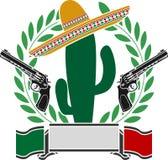 Ο μεξικάνικος κάκτος και δύο πιστόλια και στεφάνι δαφνών Στοκ Εικόνες