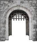 Ο μεσαιωνικός κεντρικός αγωγός κάστρων εισάγεται ή πύλη Στοκ Εικόνες
