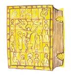 Ο μεσαιωνικός χρυσός κάλυψε τη συρμένη χέρι έγχρωμη εικονογράφηση Βίβλων, μέρος του μεσαιωνικού συνόλου σειράς Στοκ Φωτογραφία