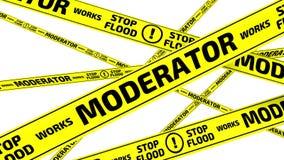 Ο μεσολαβητής είναι εργασία Πλημμύρα στάσεων Κίτρινες ταινίες προειδοποίησης απεικόνιση αποθεμάτων