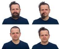 Ο μετασχηματισμός ενός δασύτριχου ατόμου τρίχας και γενειάδων Στοκ εικόνες με δικαίωμα ελεύθερης χρήσης