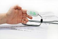 Ο μετρητής οξυγόνου αίματος επανδρώνει επάνω το δάχτυλο στοκ φωτογραφίες