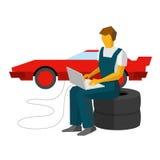 Ο μηχανικός αυτοκινήτων ρυθμίζει sportcar με το lap-top Πρατήριο βενζίνης worke διανυσματική απεικόνιση