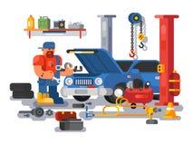 Ο μηχανικός εργαζόμενος επισκευάζει το αυτοκίνητο στο γκαράζ διανυσματική απεικόνιση
