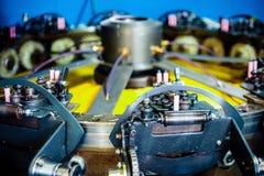 Ο μηχανισμός μιας κινηματογράφησης σε πρώτο πλάνο μηχανών πλεξίματος Στοκ φωτογραφίες με δικαίωμα ελεύθερης χρήσης