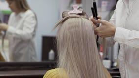 Ο μη αναγνωρισμένος κομμωτής γυναικών σε ένα άσπρο πουκάμισο κάνει Hairstyle στο κορίτσι απόθεμα βίντεο