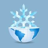 Ο μισός από τον κόσμο μέσα στο πολύγωνο με snowflake Χριστουγέννων επάνω απεικόνιση αποθεμάτων