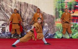 Ο μοναχός του ναού Shaolin εκτελεί το wushu Po Lin στο μοναστήρι στο Χονγκ Κονγκ, Κίνα Στοκ φωτογραφία με δικαίωμα ελεύθερης χρήσης