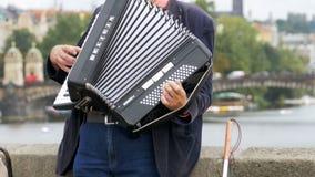 Ο μουσικός οδών με ένα ακκορντέον παίζει και τραγουδά τα τραγούδια στη γέφυρα του Charles, Πράγα, Δημοκρατία της Τσεχίας φιλμ μικρού μήκους