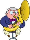 Ο μουσικός ορχηστρών παίζει το tuba Στοκ εικόνες με δικαίωμα ελεύθερης χρήσης
