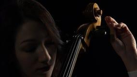 Ο μουσικός συντονίζει ένα βιολοντσέλο Μαύρη ανασκόπηση κλείστε επάνω απόθεμα βίντεο