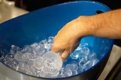 Ο μπάρμαν γεμίζει το γυαλί με τον πάγο στοκ φωτογραφίες με δικαίωμα ελεύθερης χρήσης