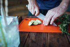 Ο μπάρμαν προετοιμάζει το κοκτέιλ οινοπνεύματος φρούτων βασισμένο στον ασβέστη, μέντα, πορτοκάλι, σόδα στοκ φωτογραφία με δικαίωμα ελεύθερης χρήσης