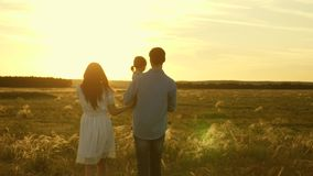 Ο μπαμπάς και mom περπατά με την λίγη κόρη στα όπλα της στις ακτίνες ενός ηλιοβασιλέματος στον τομέα Οικογενειακό παιχνίδι με την απόθεμα βίντεο