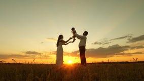 Ο μπαμπάς κρατά μια ευτυχή μικρή κόρη στα χέρια της και το δίνει στη μητέρα της Παιχνίδια κορών με το mom και τον μπαμπά στον ήλι απόθεμα βίντεο