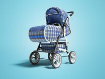 Ο μπλε περιπατητής με τα ένθετα τζιν για το μωρό τρισδιάστατο δίνει στο μπλε υπόβαθρο με τη σκιά ελεύθερη απεικόνιση δικαιώματος